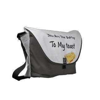Palabras del amor del pan de la tostada bolsa messenger