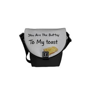 Palabras del amor del pan de la tostada bolsas messenger