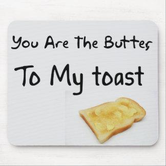 Palabras del amor del pan de la tostada tapete de raton