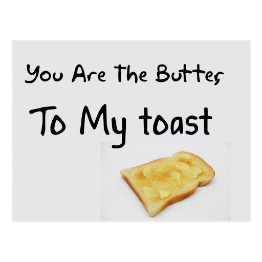 Palabras del amor del pan de la tostada tarjeta postal