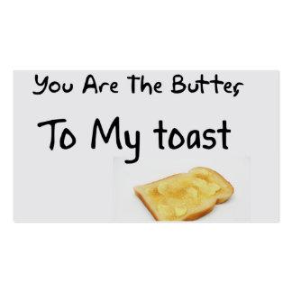 Palabras del amor del pan de la tostada tarjetas de visita