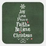 Palabras del árbol de navidad pegatina cuadrada