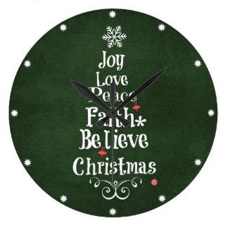 Palabras del árbol de navidad reloj redondo grande