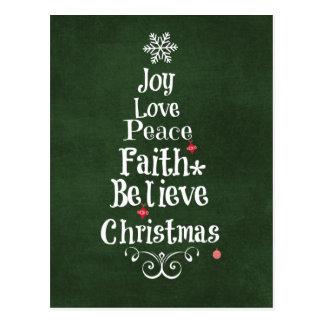 Palabras del árbol de navidad postales