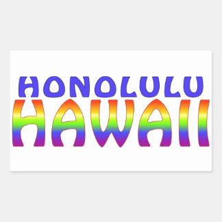 Palabras del arco iris de Honolulu Hawaii Pegatina Rectangular