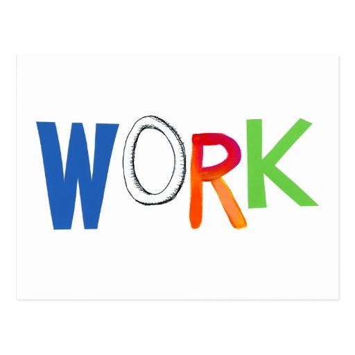 Palabras del arte del trabajador del trabajo del e tarjetas postales