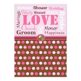 """Palabras del boda del rosa del amor y de la ducha invitación 5"""" x 7"""""""