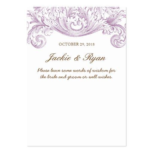 Palabras del boda del vintage de la púrpura de la  tarjeta de negocio