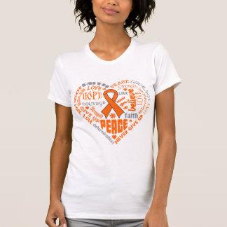 Palabras del corazón de la conciencia del cáncer d camisetas