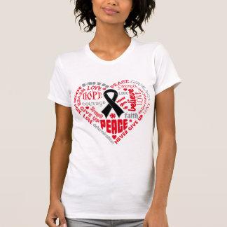Palabras del corazón de la conciencia del cáncer d camiseta