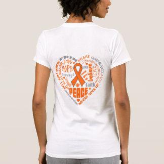 Palabras del corazón de la conciencia del cáncer camiseta