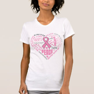 Palabras del corazón de la conciencia del cáncer camisetas