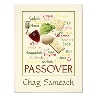 """Palabras del Passover Invitación 4.25"""" X 5.5"""""""