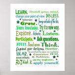 Palabras del poster de la sabiduría. Aprendizaje