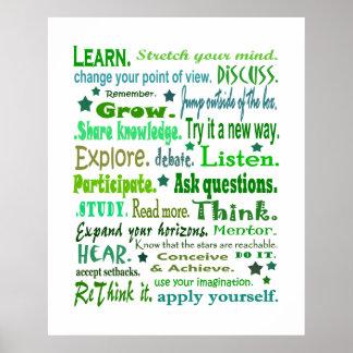 Palabras del poster de la sabiduría. Aprendizaje d