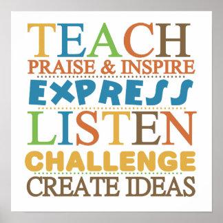 Palabras del profesor a vivir Byy Poster