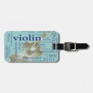 Palabras del violín etiqueta para maleta