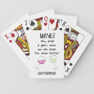 Palabras divertidas del vino que dicen el nombre barajas de cartas