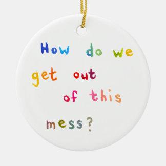 Palabras económicas del arte de la diversión de adorno navideño redondo de cerámica