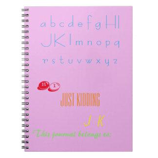 Palabras en el diario del alfabeto spiral notebook