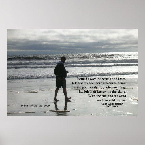 Palabras famosas: Tesoros - paseo en la playa - po Poster