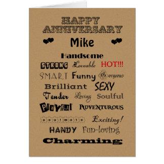 Palabras felices del aniversario de Mike de la ala Tarjeton