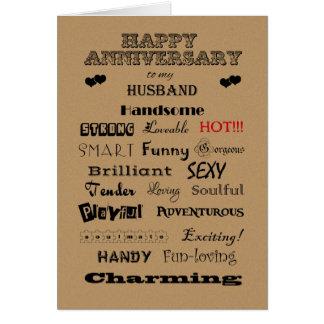 Palabras felices del aniversario del marido de la  tarjeta de felicitación
