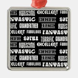 Palabras frescas del positivo de los abuelos del adorno navideño cuadrado de metal