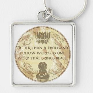 Palabras huecos de Buda Llavero Cuadrado Plateado