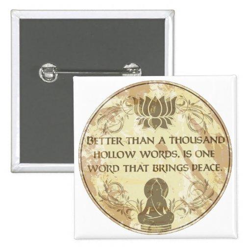 Palabras huecos de Buda Pin Cuadrada 5 Cm
