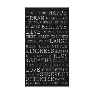 Palabras inspiradas de los pensamientos positivos impresiones en lona estiradas