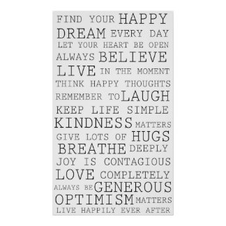 Palabras inspiradas de los pensamientos positivos posters