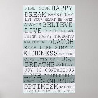 Palabras inspiradas de los pensamientos positivos póster