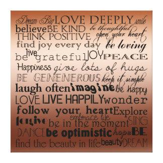 Palabras inspiradas impresión en lienzo estirada