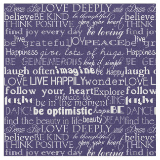 Palabras inspiradas púrpuras y tipografía blanca telas