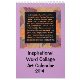 Palabras inspiradas y flores calendarios de pared
