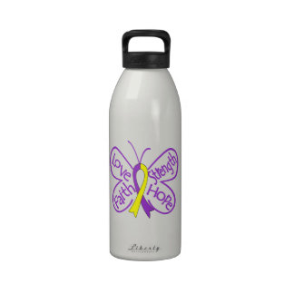 Palabras inspiradoras de la mariposa autoinmune de botella de agua