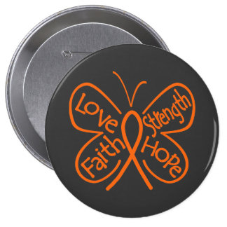 Palabras inspiradoras de la mariposa de la leucemi pin redondo 10 cm