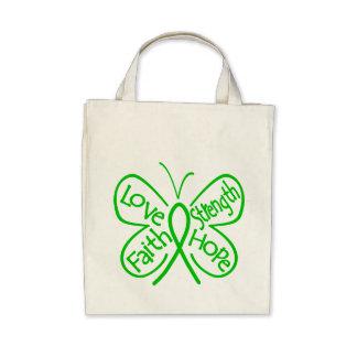 Palabras inspiradoras de la mariposa de la salud m bolsas
