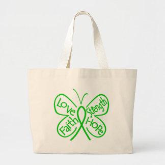 Palabras inspiradoras de la mariposa de la salud m bolsa lienzo