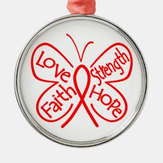 Palabras inspiradoras de la mariposa del adorno navideño redondo de metal