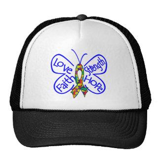 Palabras inspiradoras de la mariposa del autismo gorra