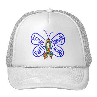 Palabras inspiradoras de la mariposa del autismo gorras