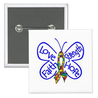 Palabras inspiradoras de la mariposa del autismo pin cuadrado