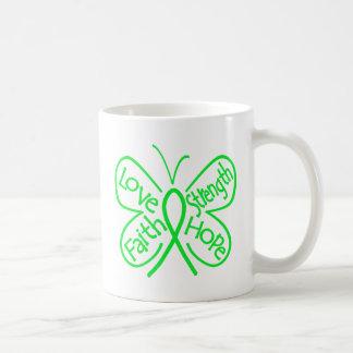 Palabras inspiradoras de la mariposa del linfoma taza básica blanca