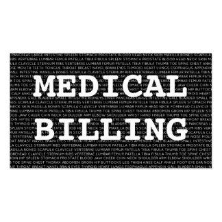 Palabras médicas de la facturación médica tarjetas de visita