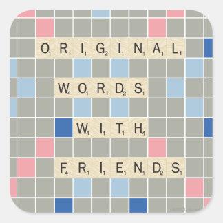 Palabras originales con los amigos pegatina cuadradas