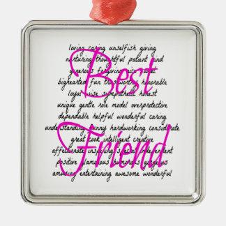 Palabras para el mejor amigo adorno navideño cuadrado de metal