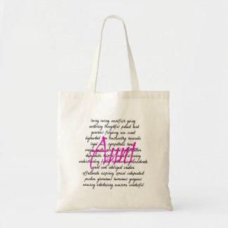Palabras para la tía bolsa tela barata