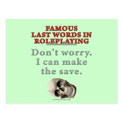 Palabras pasadas famosas en el Roleplaying: Ahorre Postal